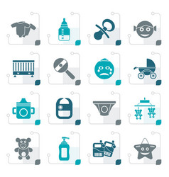 stylized baby children and toys icons vector image