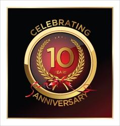 10 years anniversary label vector image