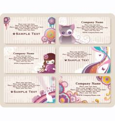 childish business cards vector image vector image