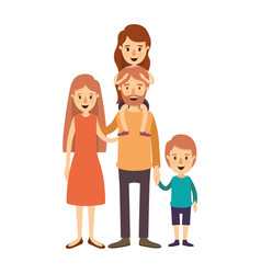 colorful image caricature family parents with girl vector image