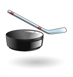 hockey stick and puck illustration vector image vector image