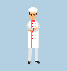 male chef cook character in white uniform standing vector image