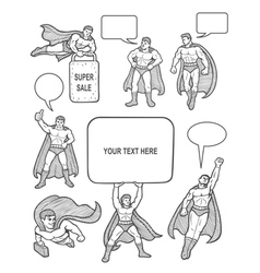 Male superhero sketch with empty speech bubbles vector image vector image