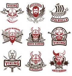 set of vintage viking labels viking warrior in vector image vector image