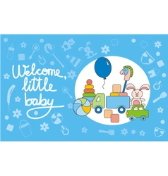 Welcome little baby blue vector image