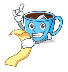 with menu tea cup mascot cartoon vector image