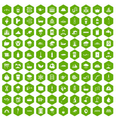 100 water supply icons hexagon green vector