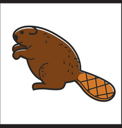 canadian beaver isolated canada traditional vector image vector image