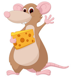 cute mouse cartoon holding a chesee vector image