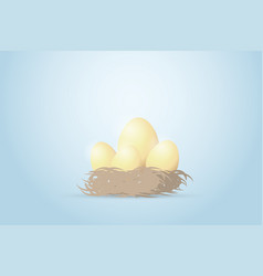 four golden eggs in the nest investment concept vector image vector image
