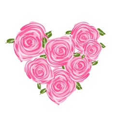 Heart shape made from roses for your design vector image