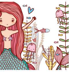 little mermaids cute cartoons vector image vector image