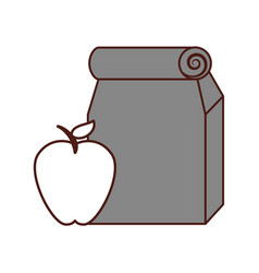 lunch bag in paper bag with apple vector image