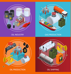 oil industry and energy resource poster card set vector image