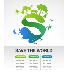Save the world - nature and ecology infographics vector image vector image