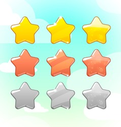 Set of Golden Silver and Bronze Stars GUI vector image vector image