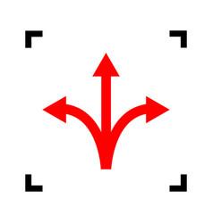 three-way direction arrow sign red icon vector image vector image