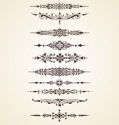 Vintage decorative ornaments text dividers set vector image