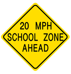 20 mph school zone ahead traffic sign on white vector