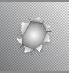 a hole in paper gap transparent background vector image