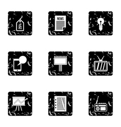 Advertising goods icons set grunge style vector
