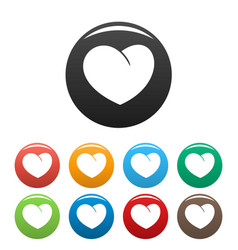 Angelic heart icons set color vector