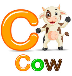 Animals alphabet c is for cow vector