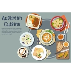 Austrian dinner with viennese desserts flat icon vector