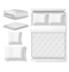 Blank white realistic bedding top view bed vector