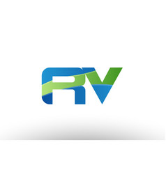 Blue green rv r v alphabet letter logo vector