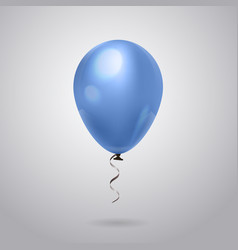Blue helium balloon with ribbon on grey background vector