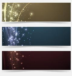 Bright magic shimmering headers collection vector