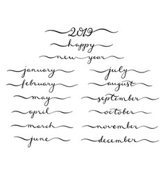 calligraphic set of months of the year 2019 vector image