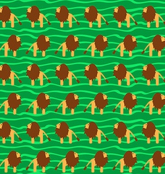 Cartoon Lion Seamless Pattern Wild Animal Africa vector image