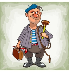 Cartoon man plumber in a beret suspiciously vector