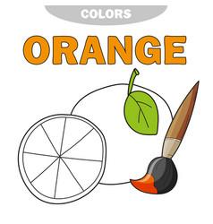 cartoon orange coloring book vector image