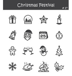 christmas festival icon set 1 vector image