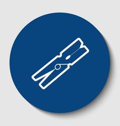 Clothes peg sign white contour icon in vector