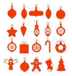 collection hanging christmas icons set vector image