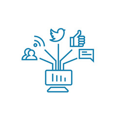 communication in social networks linear icon vector image