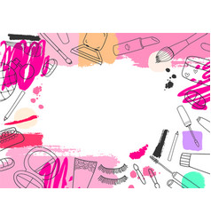 Cosmetics banner background hand drawn vector