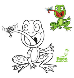 Cute cartoon frog eats fly color and outlined on a vector