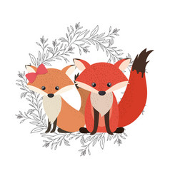 Cute couple foxes with wreath vector