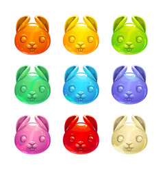 Cute jelly bunny faces vector