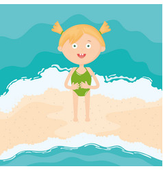 cute little girl with swimsuit on beach vector image