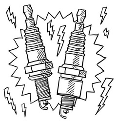Doodle spark plugs vector