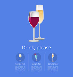Drinks please poster with glass of wine champagne vector