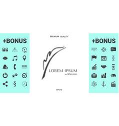 elegant halftone logo with fountain pen vector image