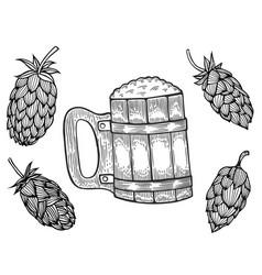 Engraving beer mug vector
