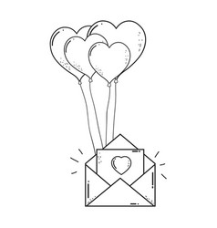 envelope with heart shaped party balloons vector image